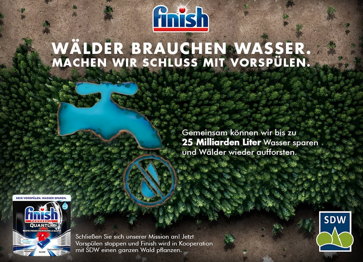 Finish saves water